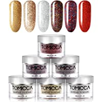 TOMICCA Dipping Powder Bright Color Set of 6 Nail Acrylic powder 0.5oz Glitter Colorful powder for dip system