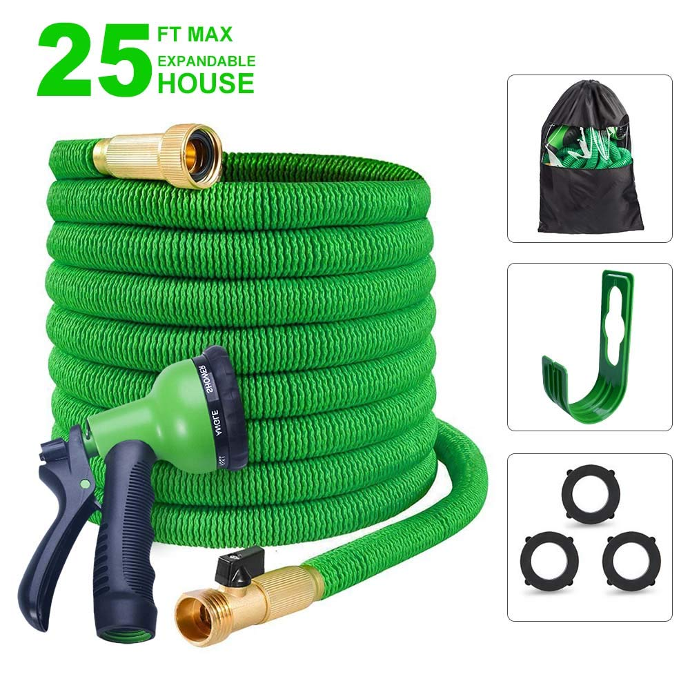 "Expandable Garden Hose 3/4"" Solid Brass Fitting - Expanding Water Hose with Hanger Hook 8 Pattern Spray Nozzle, Extra Strength Textile Hose Shut Off Valve"