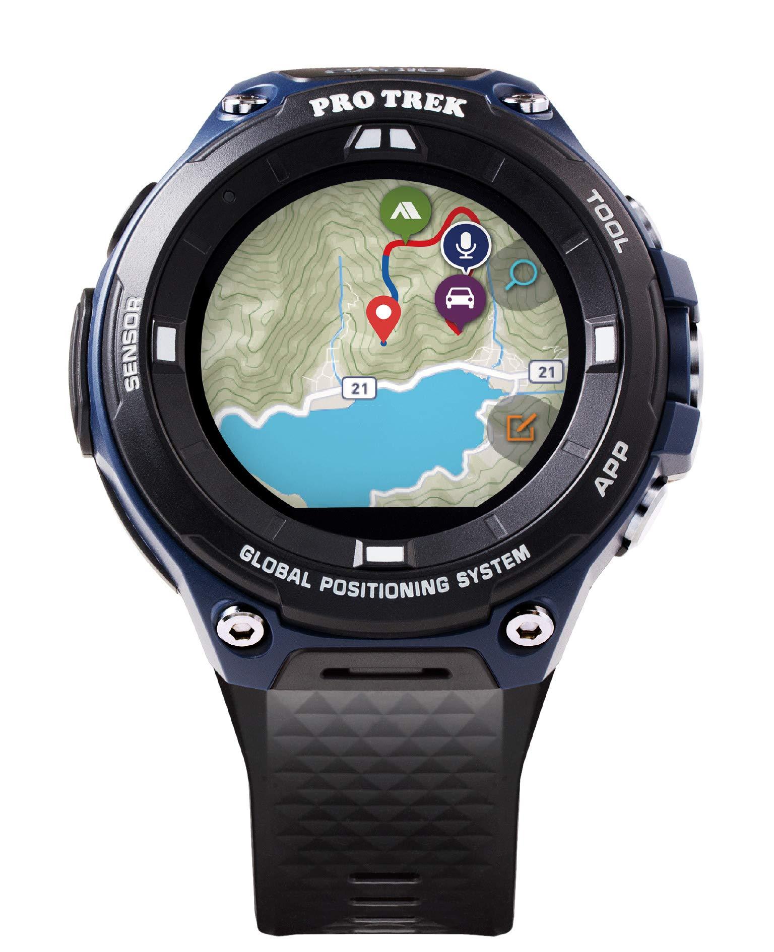 Casio Men's ''Pro Trek'' Outdoor GPS Resin Sports Watch, Color: Black & Indigo Blue (Model WSD-F20A-BUAAU)