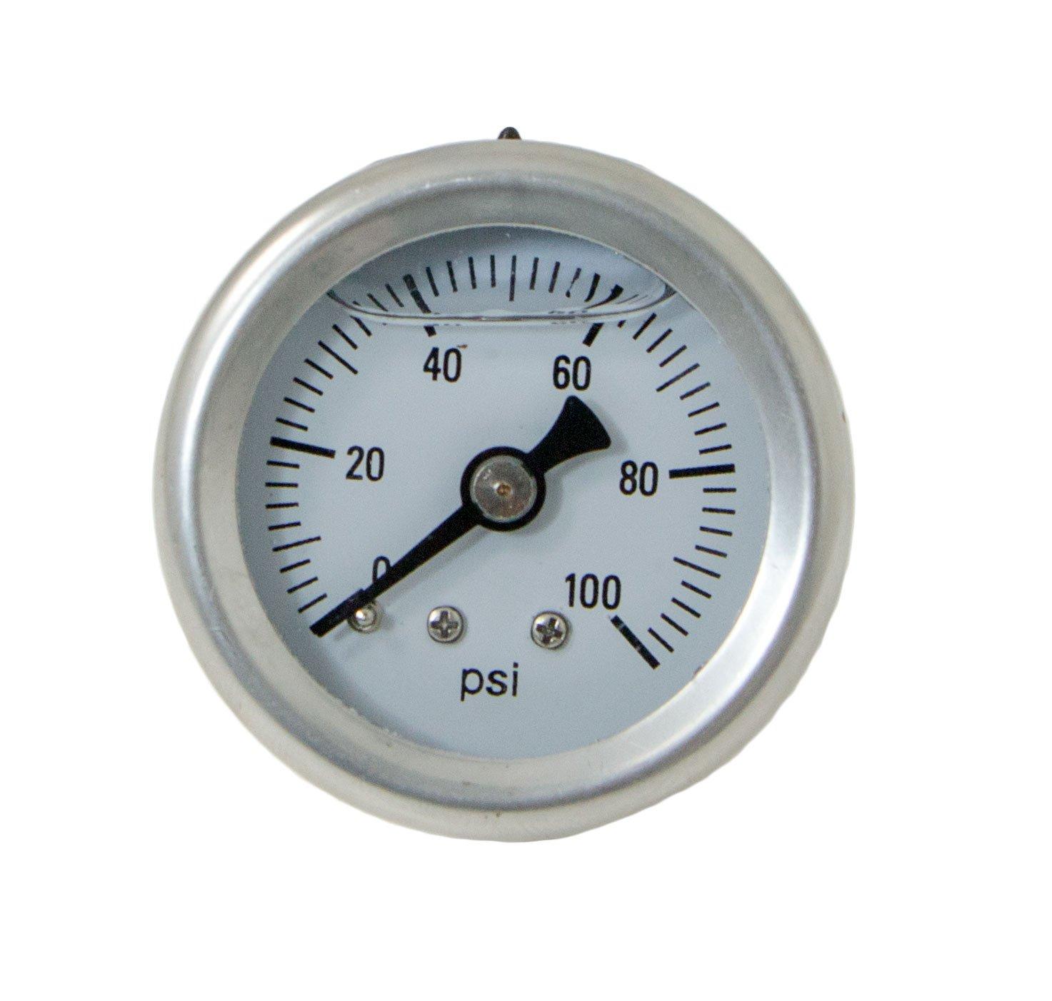 Top Street Performance JM1018 1/8' NPT Liquid Filled Fuel Pressure Gauge (0-100 psi)