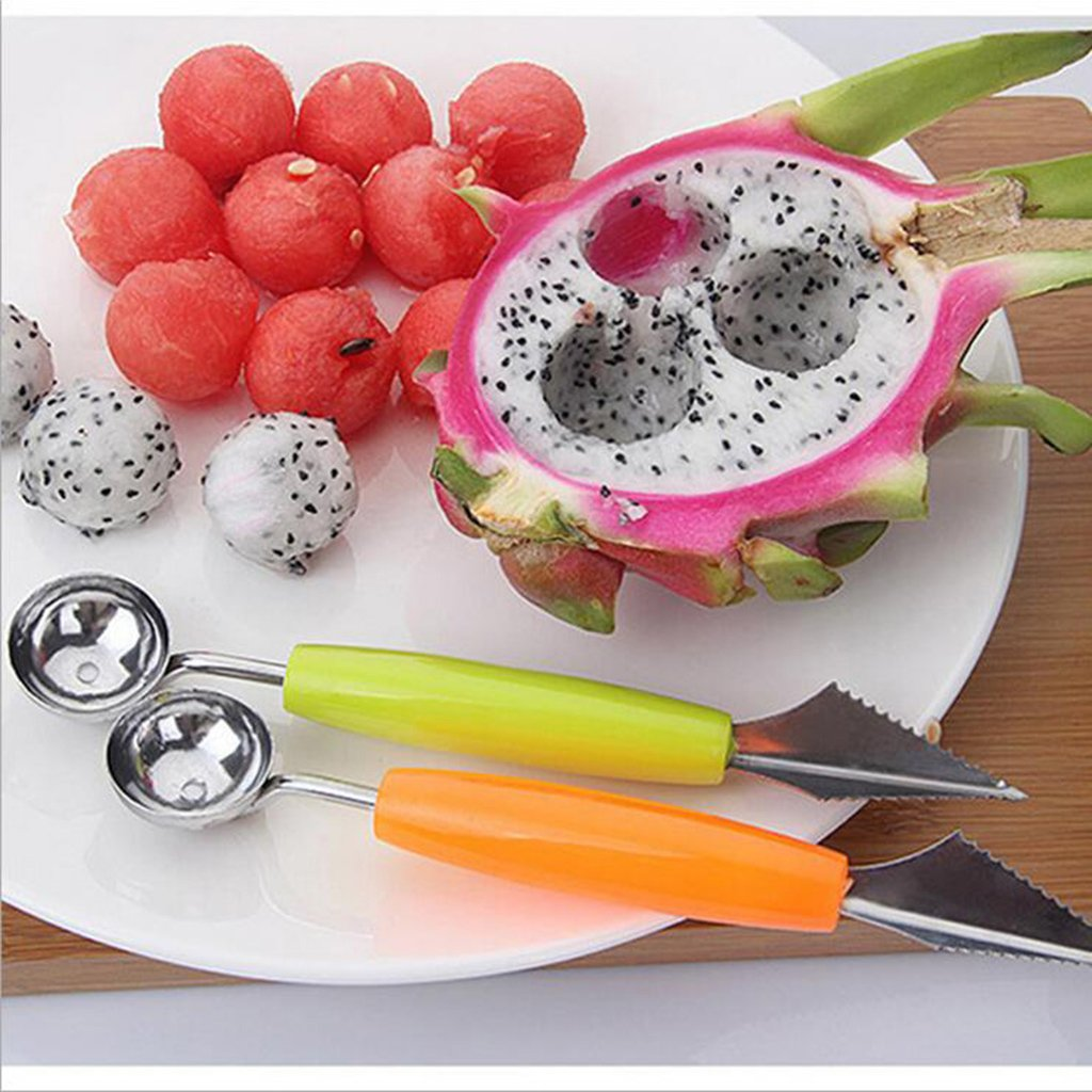 Dolity NEW Multi-function Fruit Carving Tool Knive&Scoop Kitchen Stainless Steel Melon Baller - Orange by Dolity (Image #6)