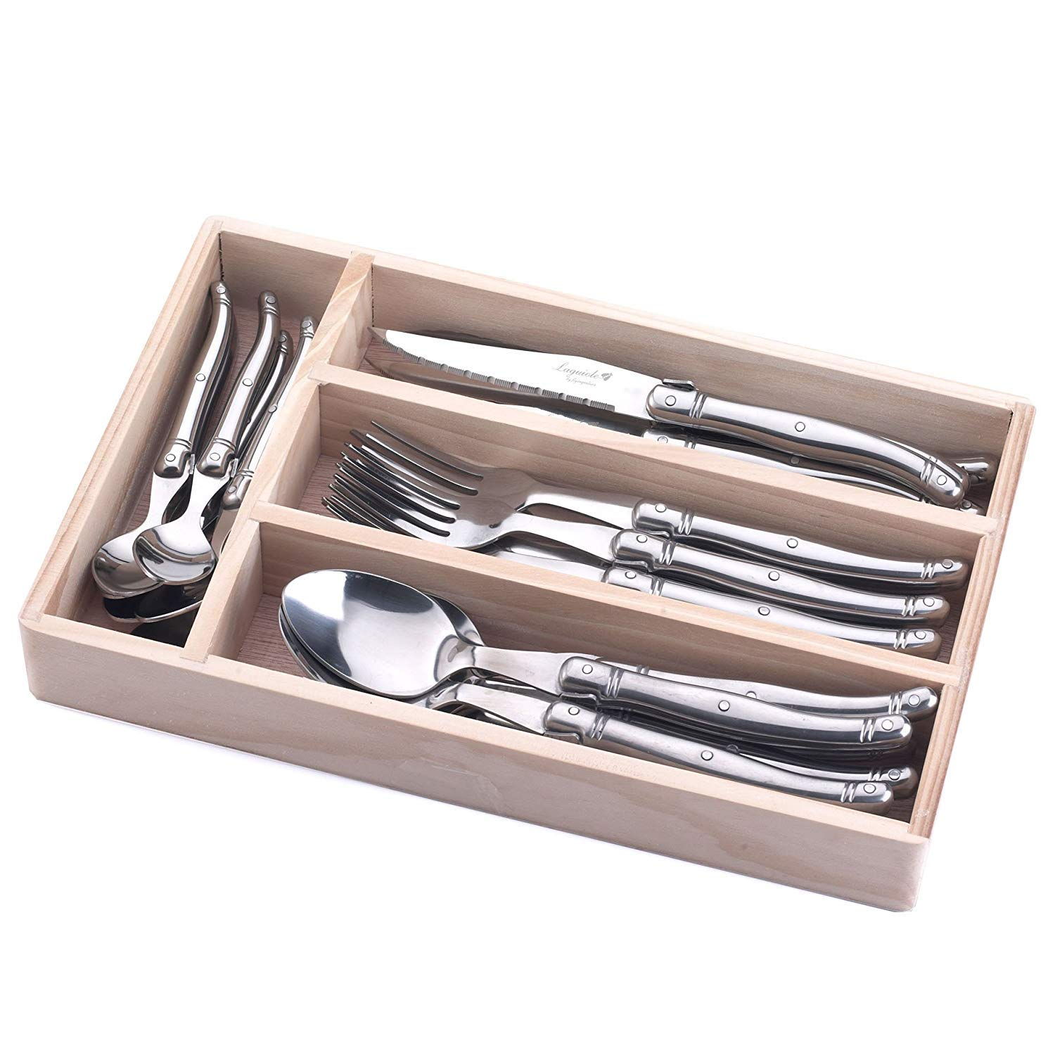 FlyingColors Laguiole Flatware Set. Stainless Steel, Wooden Storage Box, 24 Pieces TLTW-E1008B