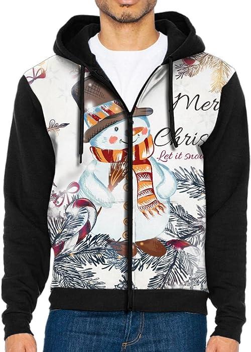 9d5d8598b51a8a Unique Men s Hoodies 3D Design Full Zip Lovely Snowman Zipper Sweatshirt  Tops With Kanga Pocket Small