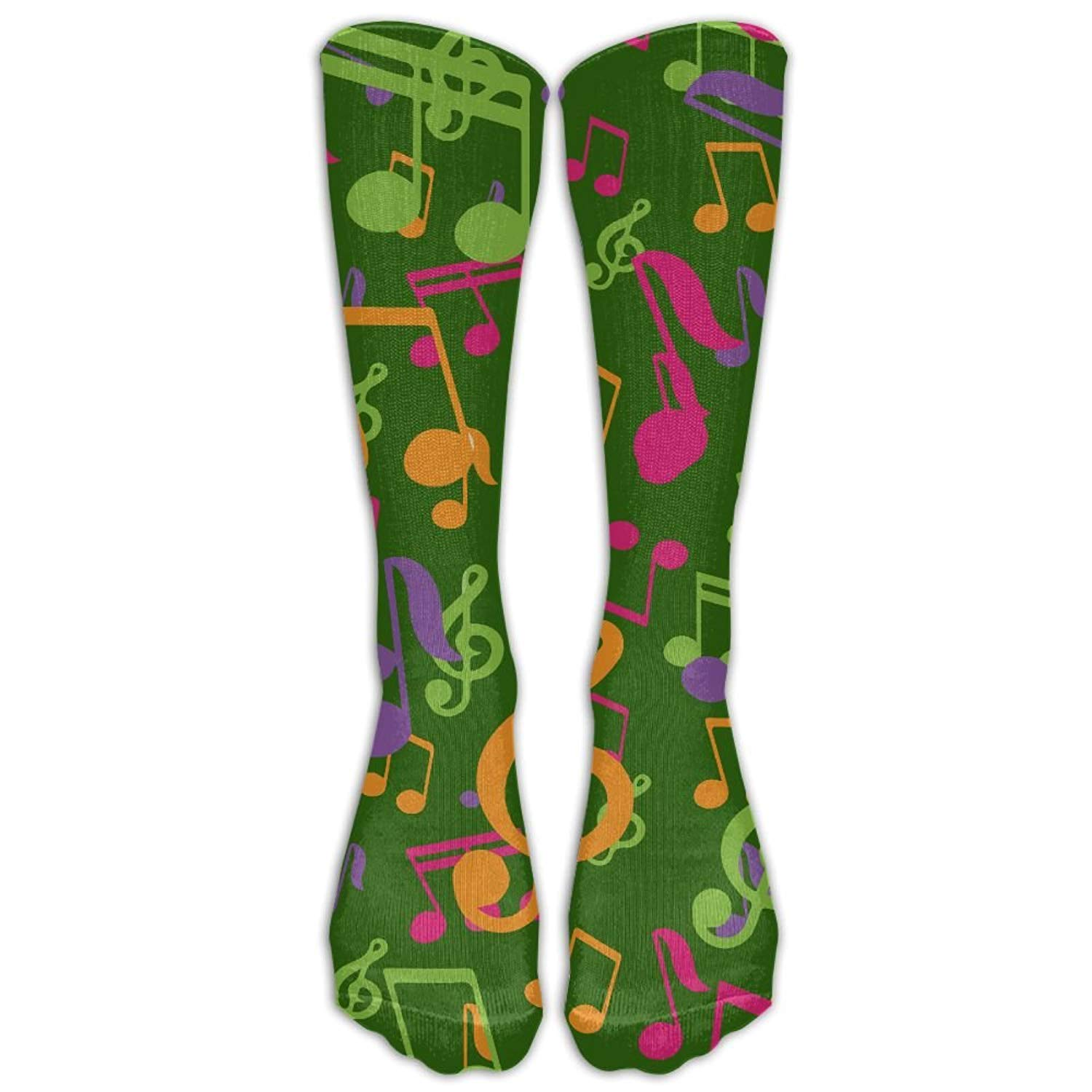 Men/&Women Colorful Music Notes Casual Mid-calf Socks Athletic Sports Novelty Below Knee Tube Stockings One Size