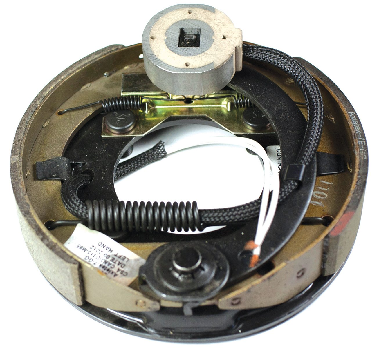 Husky 30789 Black Painted 7'' x 1.25'' Left Hand Electric Brake Assembly - (600 lb. to 2200 lb. Axle Capacity)