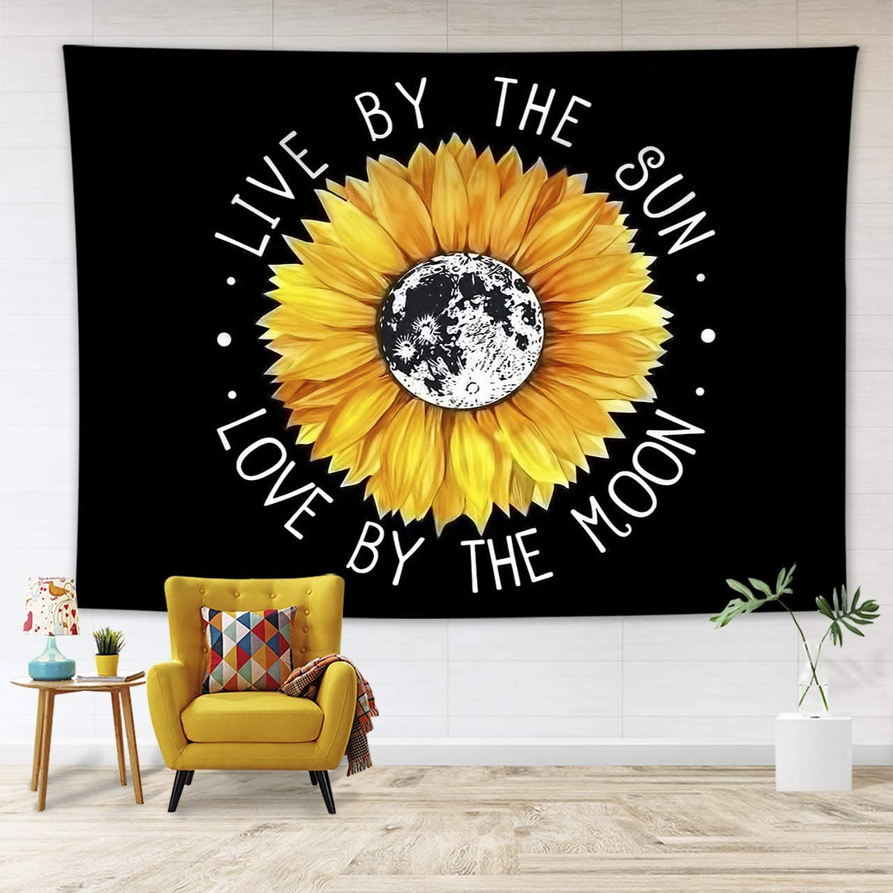 LB Bright Yellow Flower Tapestry Boho Style Sunflowers Tapestry with Motivation Quote Live by The Sun Love by The Moon Tapestry for Bedroom Living Dining Room Dorm Decor 93 Wx71 L