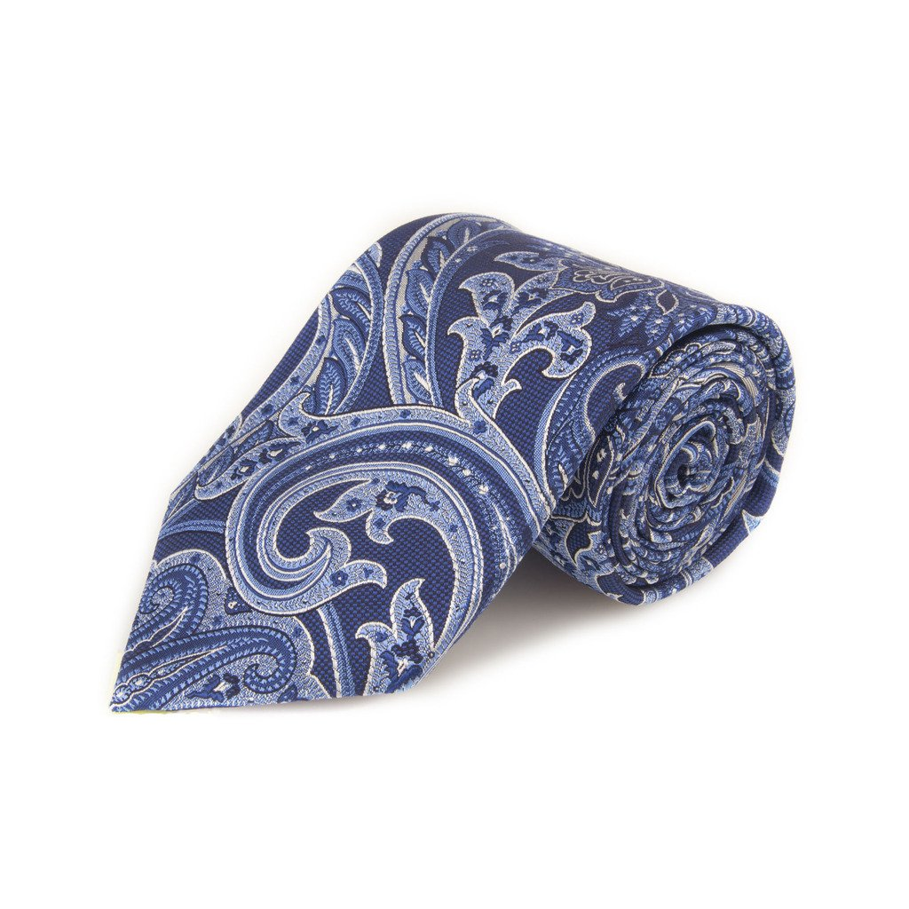 Robert Talbott Best Of Class Navy And Blue Paisley Woven Silk Tie