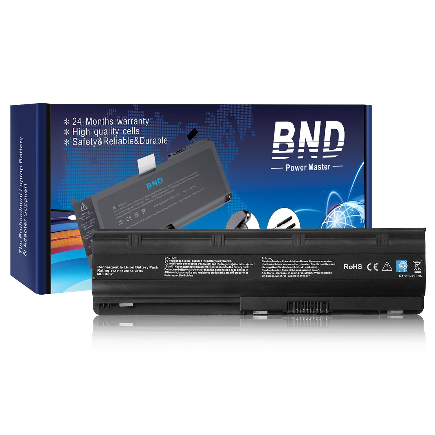 BND Laptop Battery Replacement for HP MU06 / MU09 / 593553-001/593554-001 / WD548AA / 636631-001/593550-001/593562-001 - 12 Months Warranty[6-Cell 4400mAh]