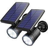 AMIR ソーラーライト LED センサーライト 屋外照明 夜間自動点灯 高輝度 800ルーメン ワイヤレス 360角度調整可能 3つの知能モード 人感センサーライト 軒先 壁掛け 庭先 玄関周りなど対応外灯 IP65防水 防犯用品 2本入り