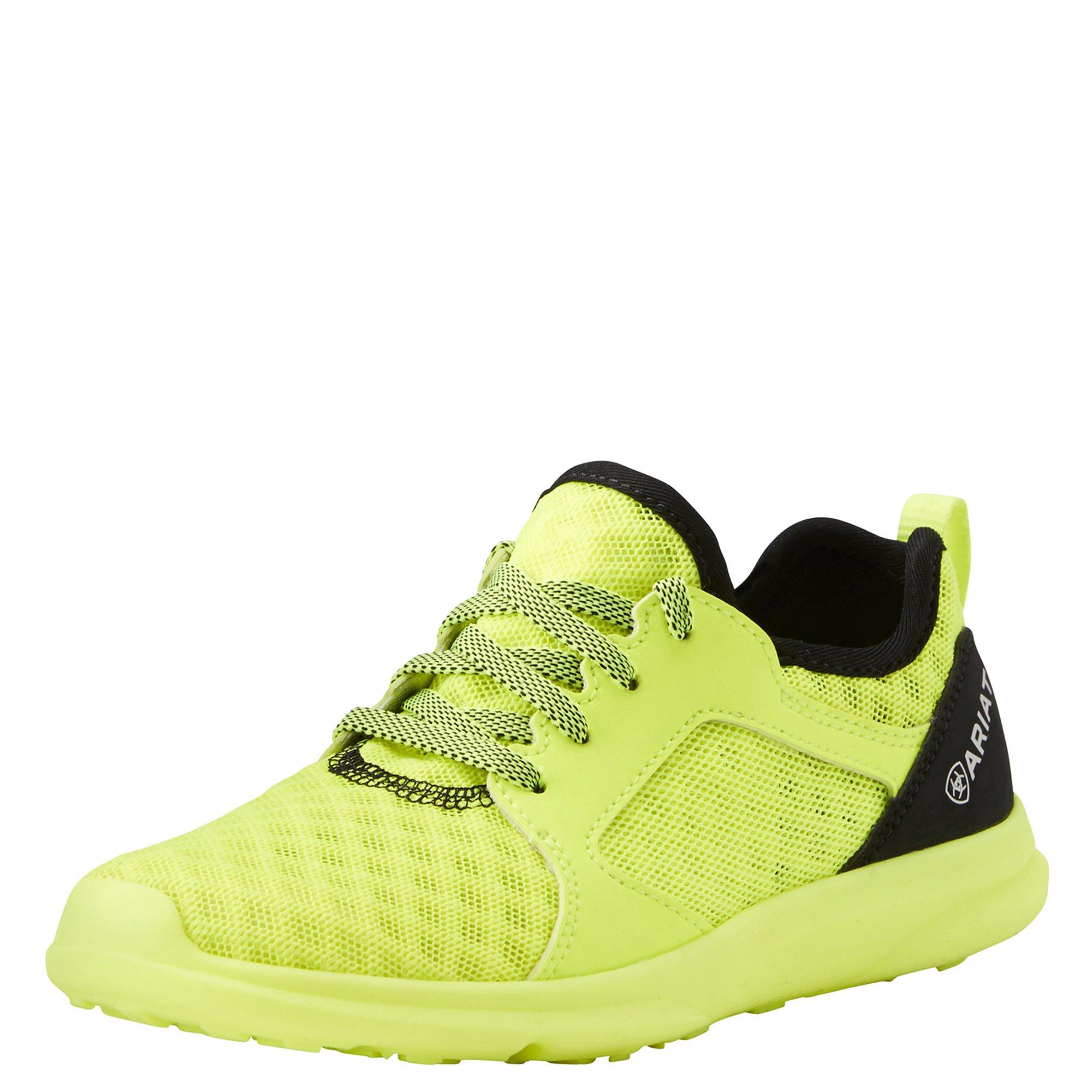 Ariat Kids' Fuse Athletic Shoe, Neon Yellow Mesh, 5 M US Big Kid