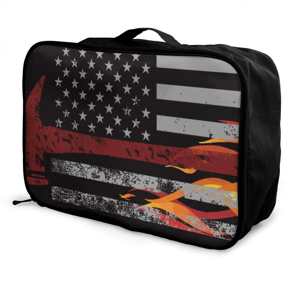 YueLJB Firefighter Red Thin Flag Lightweight Large Capacity Portable Luggage Bag Travel Duffel Bag Storage Carry Luggage Duffle Tote Bag