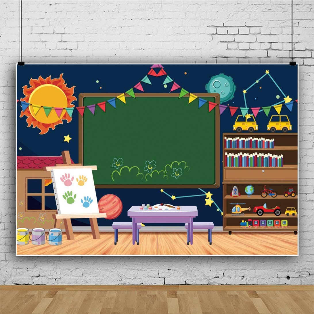 YEELE 12x8ft Back to School Backdrop Cartoon Kindergarten Class with Drawing Board Toys Photography Background Online Teaching Course Kid Boy Student Portrait Photo Shoot Studio Prop