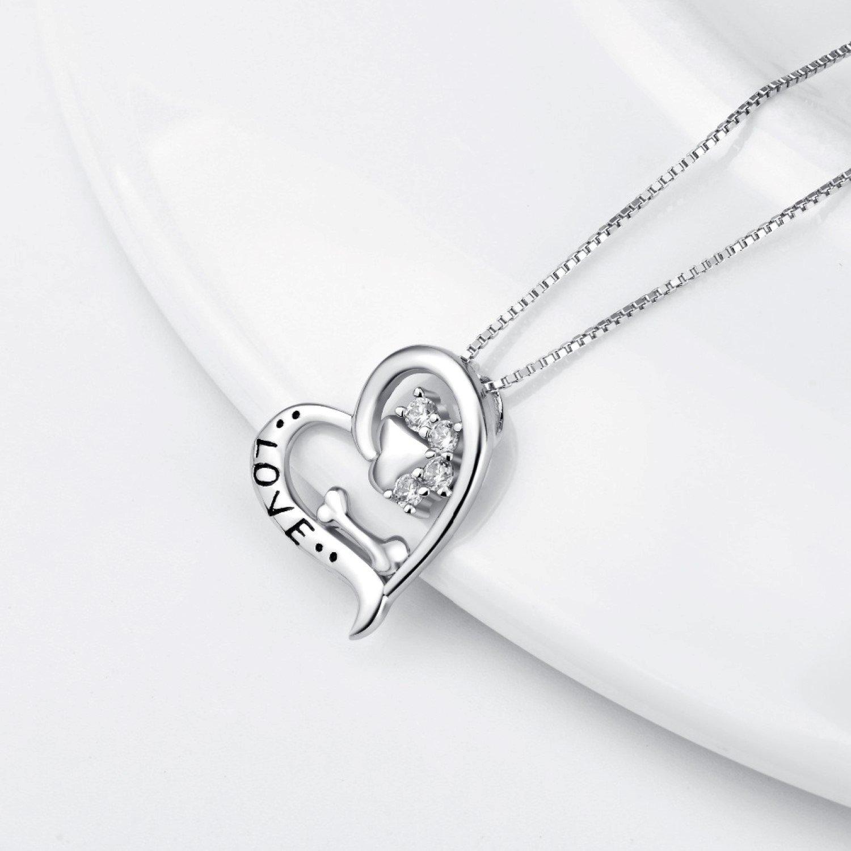 CS-DB Love Heart Dog Paw Print Bone Top Stylish Silver Necklaces Pendants