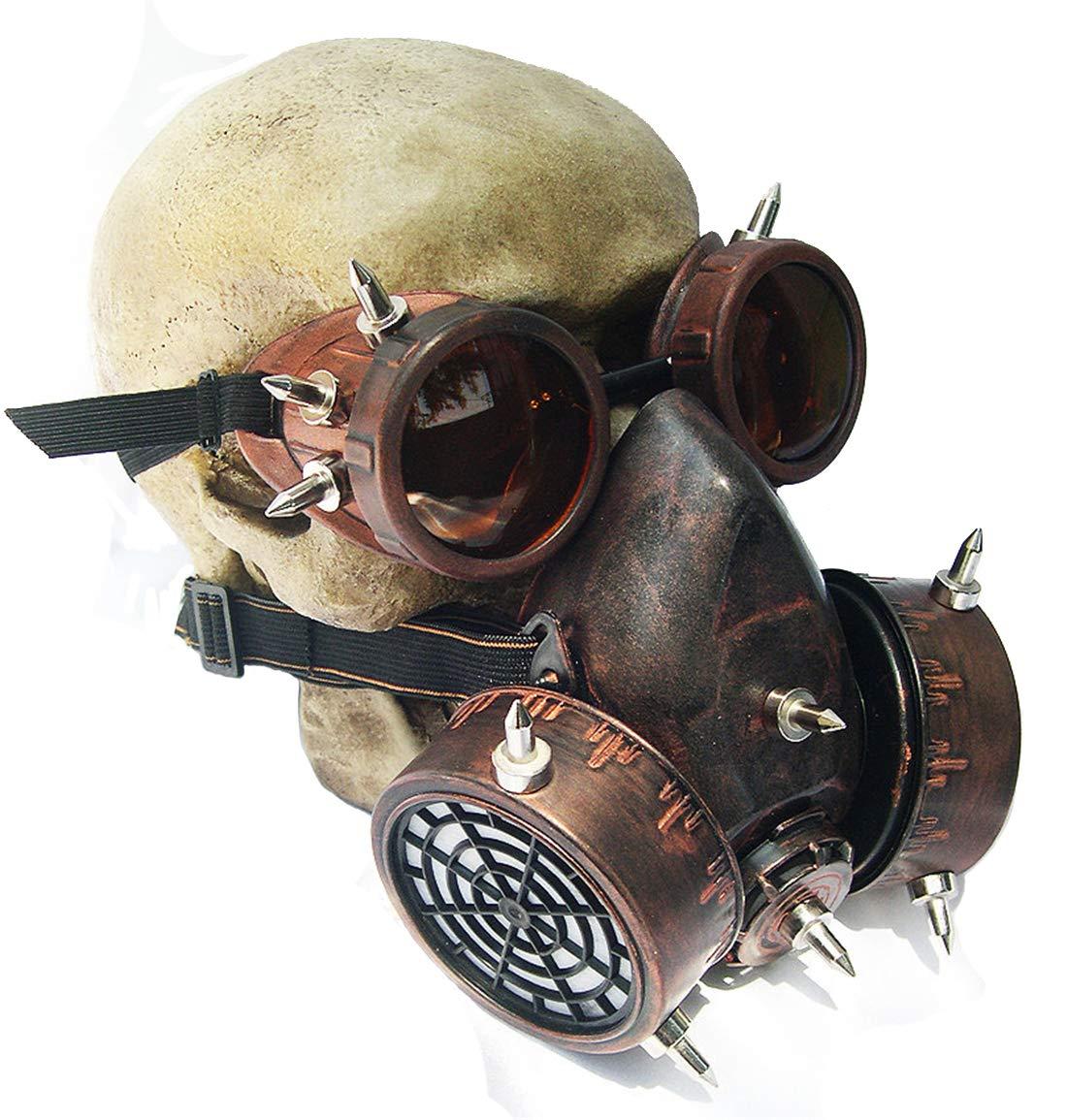 レトロな防風メガネのガスマスクハロウィーンのsteampunkコスプレ小道具   B07JVBH4K1