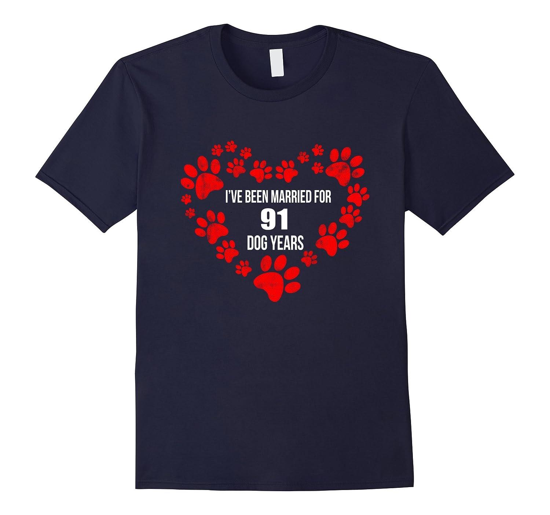 13th Wedding Anniversary T-Shirt 91 Dog Years Gift-TH