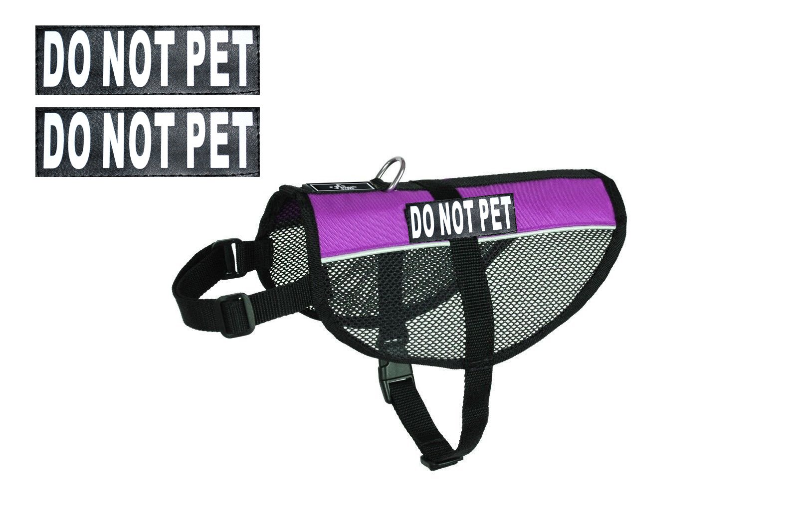 DO NOT PET Service Dog mesh Vest Harness Cool Comfort Nylon for Dogs Small Medium Large Purchase Comes with 2 Reflective DO NOT PET Removable Patches. Please Measure Your Dog Before Ordering