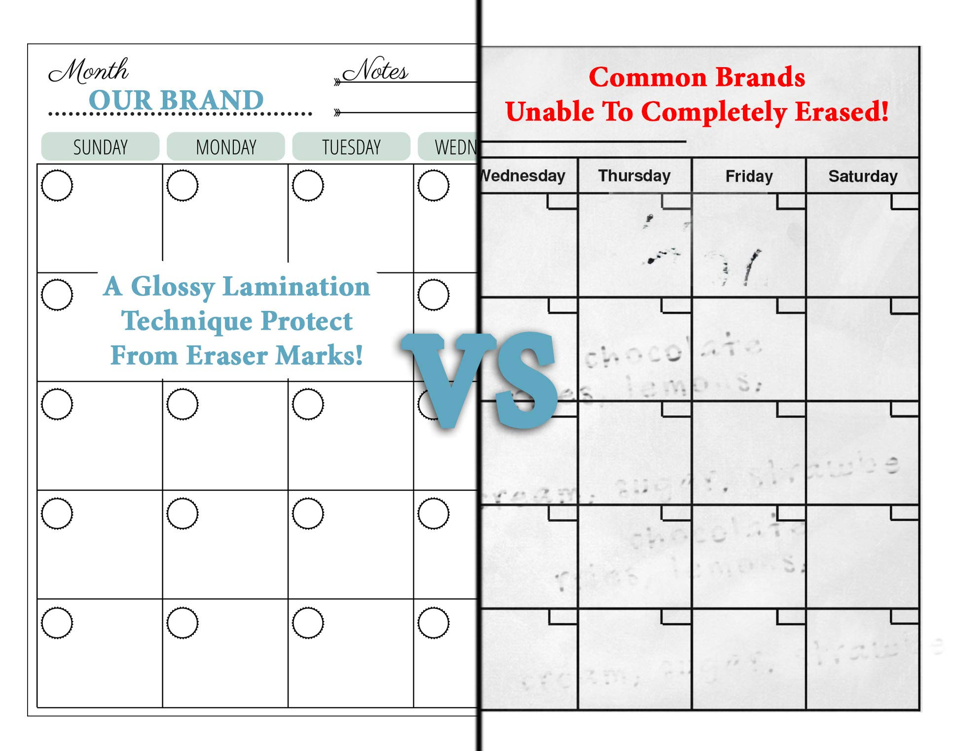 Dry Erase Monthly Magnetic Calendar Planner Set, White Board W/Extra Meal Planner, for Kitchen Refrigerator, Flexible, a Highly Designed Stiff Box for Home or Office. White, 16''x12''. by BIGGAHOME by Bigga Home (Image #6)