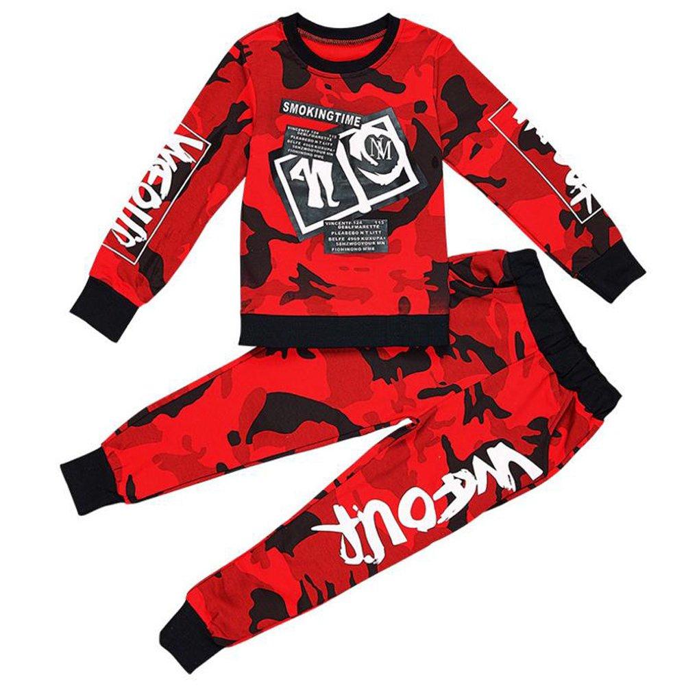 Vividda Junge Camouflage Langarm Sweatshirt Tops + Camo Hosen Jogginganzug Trainingsanzug