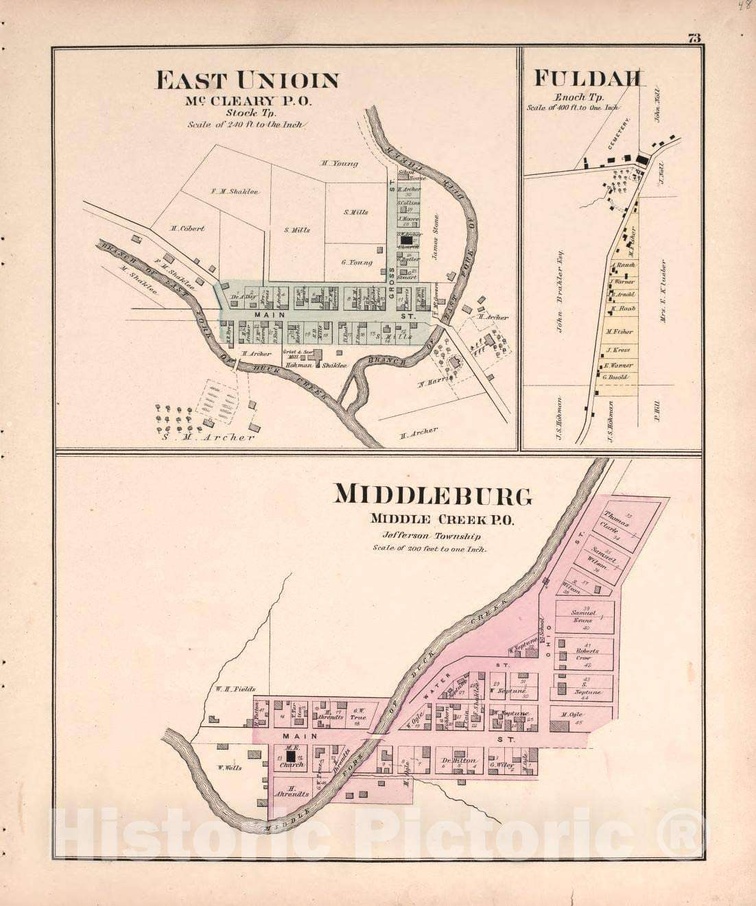 Historic 1876 Map - Illustrated Atlas of Noble County, Ohio : published from Expected surveys - Middleburg and Union - Centennial Atlas of Noble County, Ohio 44in x 53in