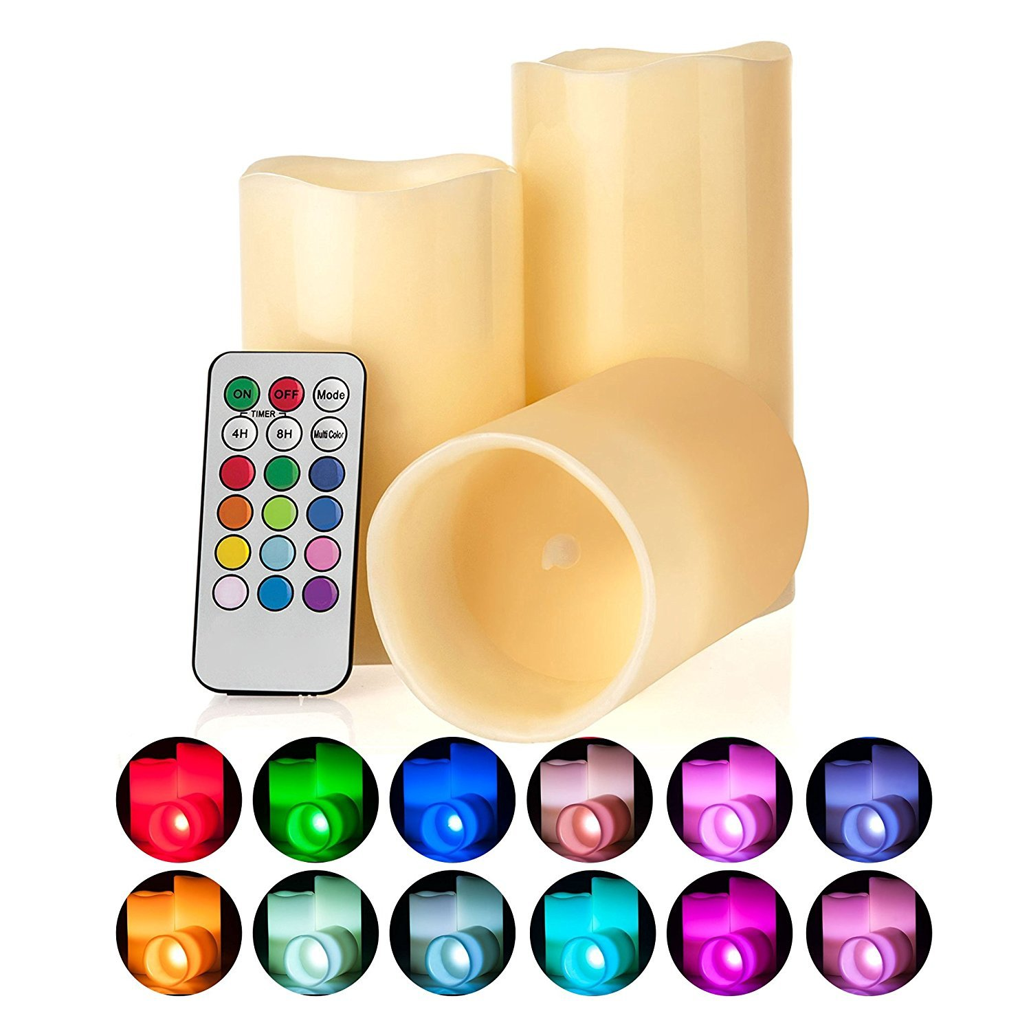 LED Lytes Flickering Flameless Candles - Battery Operated Candles Vanilla Scented Set of 3 Round Ivory Wax Flickering Multi Colored Flame, auto-Off Timer Remote Control Weddings Gifts by LED Lytes (Image #8)