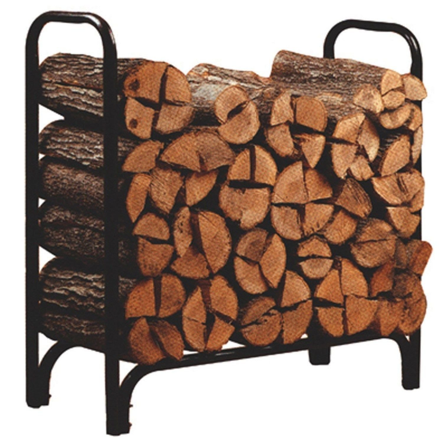 WALCUT 4ft Outdoor Firewood Log Rack for Fireplace, Heavy Duty Wood Stacker Holder for Patio, Kindling Logs Storage Stand Steel Tubular Wood Pile Racks Black