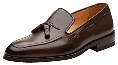 976ecbd891a Dapper Shoes Co. Genuine Leather Handcrafted Men s Classic Braided Tassel  Loafer Leather Lined Dress Shoes