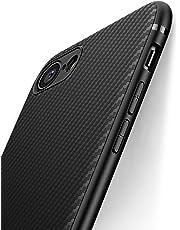 Coque iphone 7, Coque iphone 8, J Jecent [ Texture Fibre de Carbone ] Silicone TPU Souple Bumper Case Cover de Protection Non Slip Surface Housse Etui Anti-Choc et Anti-Rayures 4.7 pouces - Noir