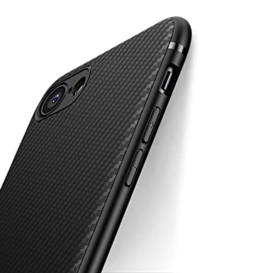 wholesale dealer 974c5 c635e J Jecent iPhone 8 Case, iPhone 7 Case, [Carbon Fiber Texture Design] Light  ShockProof Brushed Rugged Grip Cover Slim Simple Stylish Soft TPU Silicone  ...