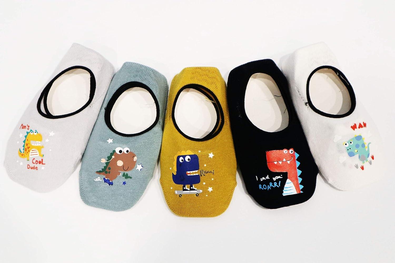 Set 1 Ceguimos Pack de 5 Pares Calcetines Invisibles para Beb/é Ni/ños Antideslizante 6-8 A/ños