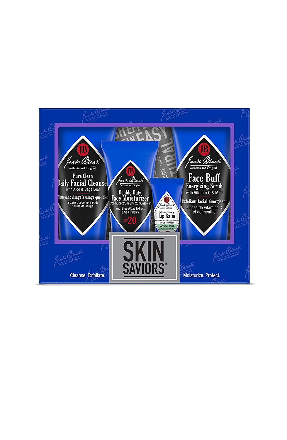Jack Black - Skin Saviors Set - Pure Clean Daily Facial Cleanser, Face Buff Energizing Scrub, Double Duty Face Moisturizer SPF 20, Intense Therapy Lip Balm SPF 25, 4-Piece Kit