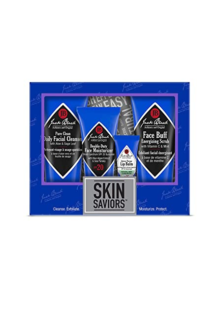 Jack Black - Skin Saviors Set - Pure Clean Daily Facial Cleanser, Face Buff Energizing Scrub, Double Duty Face Moisturizer SPF 20, Intense Therapy Lip Balm SPF 25, 4-Piece Kit best men's skincare sets