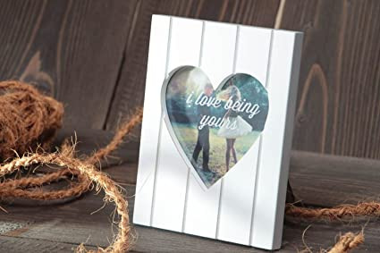 Marco para foto de corazon de enamorados artesanal blanco original para mesa