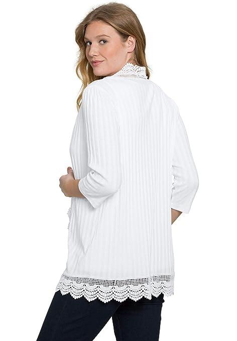 2dadb58ba82e8 Roamans Women s Plus Size Crochet Trim Cardigan at Amazon Women s Clothing  store