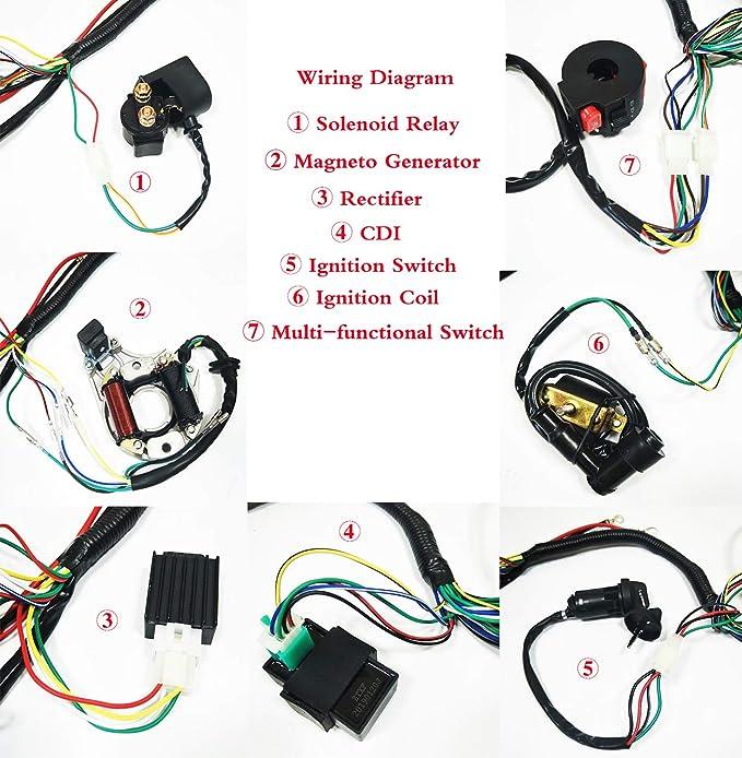 amazon com: annpee full electrics coil cdi wiring harness loom kit cdi coil  magneto kick start engine for 50cc 70cc 90cc 110cc 125cc atv quad bike  buggy go