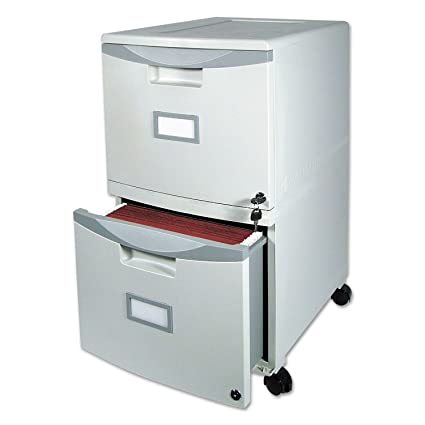 Admirable Storex Two Drawer Mobile File Cabinet With Lock 14 8 X 18 X 26 Inch Gray 61301B01C Interior Design Ideas Pimpapslepicentreinfo