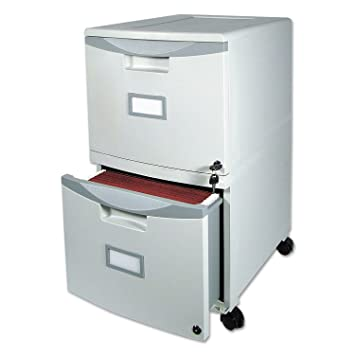 Storex Wheeled Two-Drawer Filing Cabinet, 18 Inches, Light Grey (61301B01C)