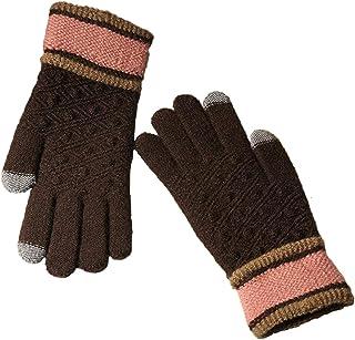 Kentop Gants d'hiver pour Femme VOLL Finger Gants en Coton Tricot Gants tactiles Outdoor Coupe-Vent Gants Chauds, Coton, Rouge Bordeaux, Medium