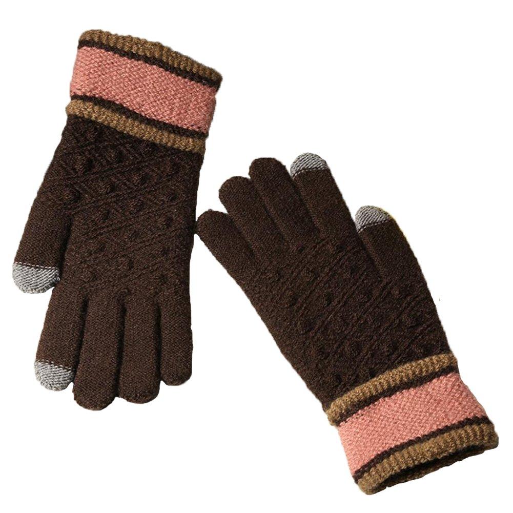 Kentop Gants d'hiver pour Femme VOLL Finger Gants en Coton Tricot Gants tactiles Outdoor Coupe-Vent Gants Chauds, Coton, Orange, Medium