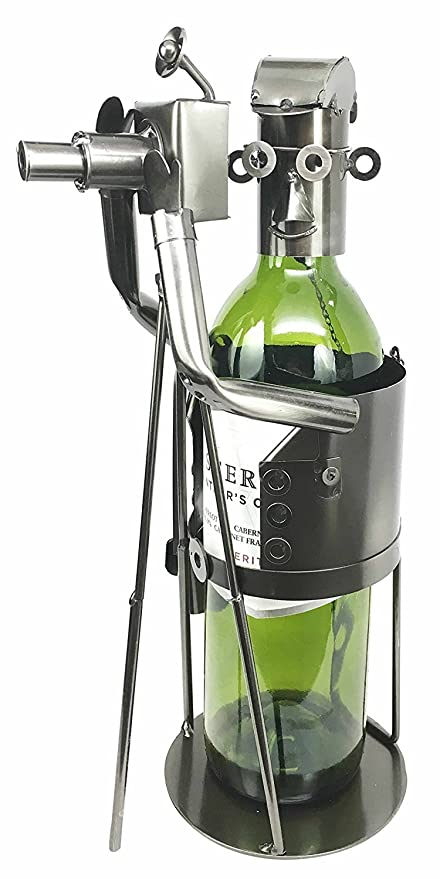 Professional Photographer With Camera Tripod In Action Hand Made Steel Metal Wine Bottle Holder Caddy Great Gift For Photographers Picture Takers Directors