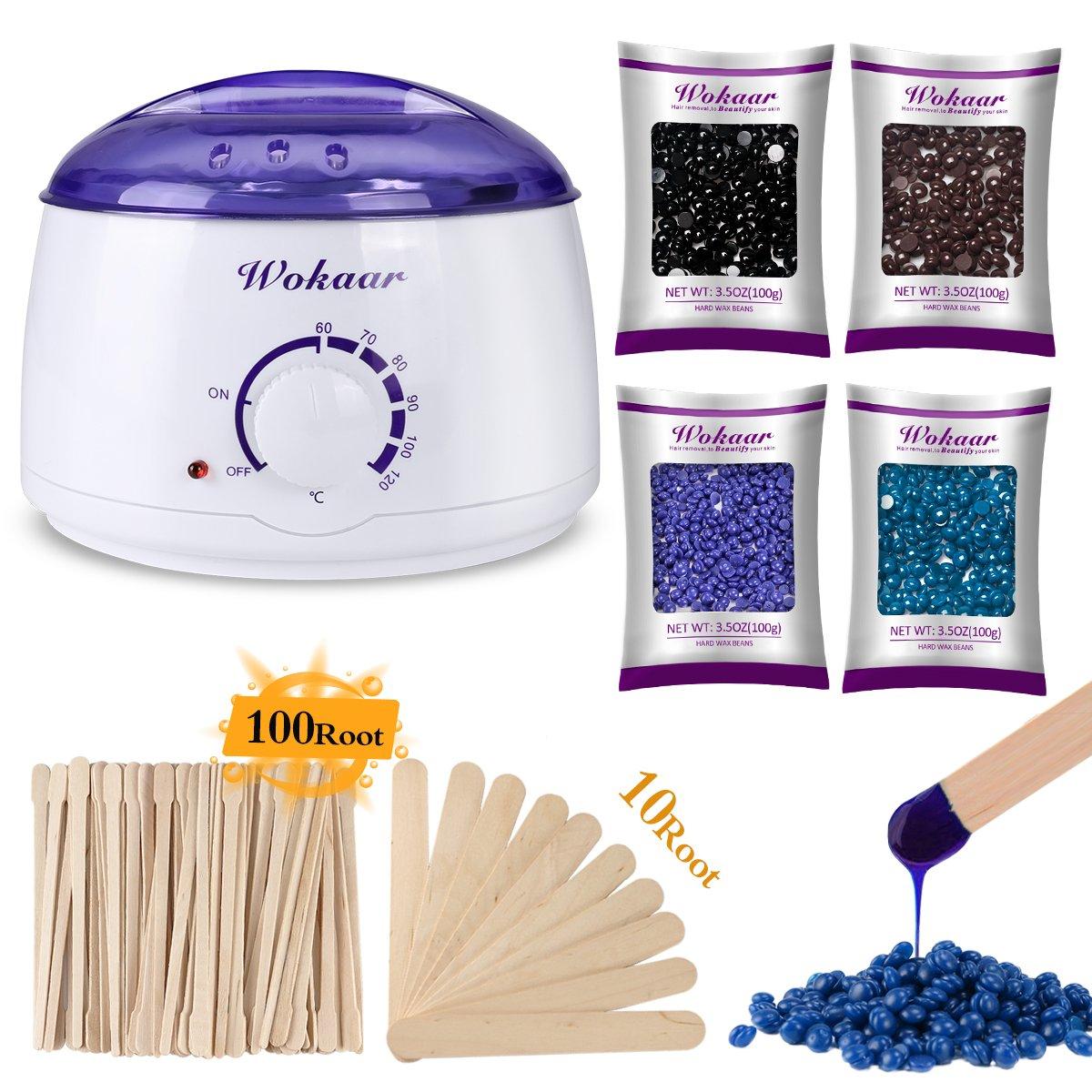 Wax Warmer Hair Removal Waxing Kit with 4 Flavors Hard Wax Beans + 10 Wax Applicator Sticks and 100 Small Eyebrow Removal Sticks Wokaar