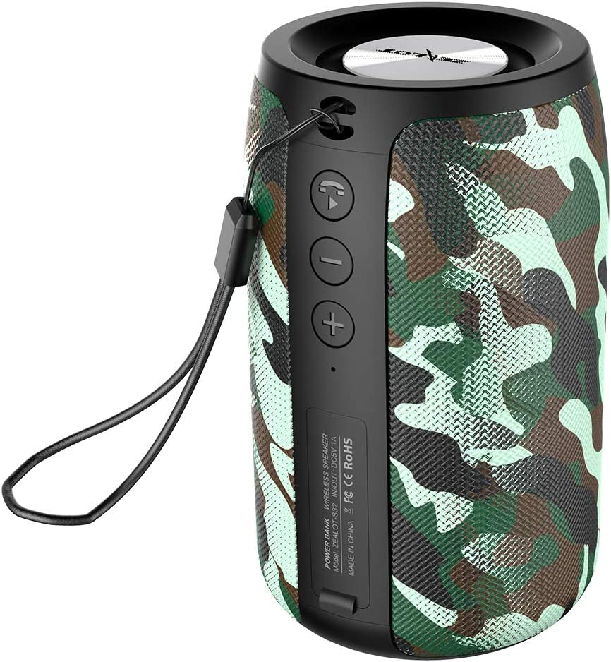 Wireless Bluetooth Speakers Zealot S32 TWS Portable Speaker IPX5 Waterproof Stereo Sound/HD MIC Calling/Micro SD Card/U Disk/Line-in Modes Competible for iPhone Xmas Samsung Andriod - Camo