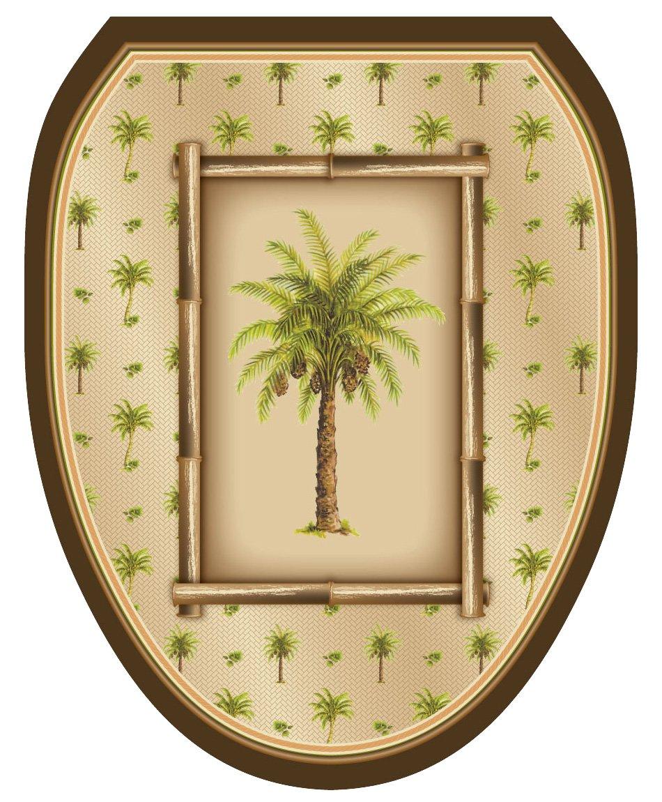 Toilet Tattoos TT-1020-R Bahamas Breeze Decorative Applique for Toilet Lid, Round