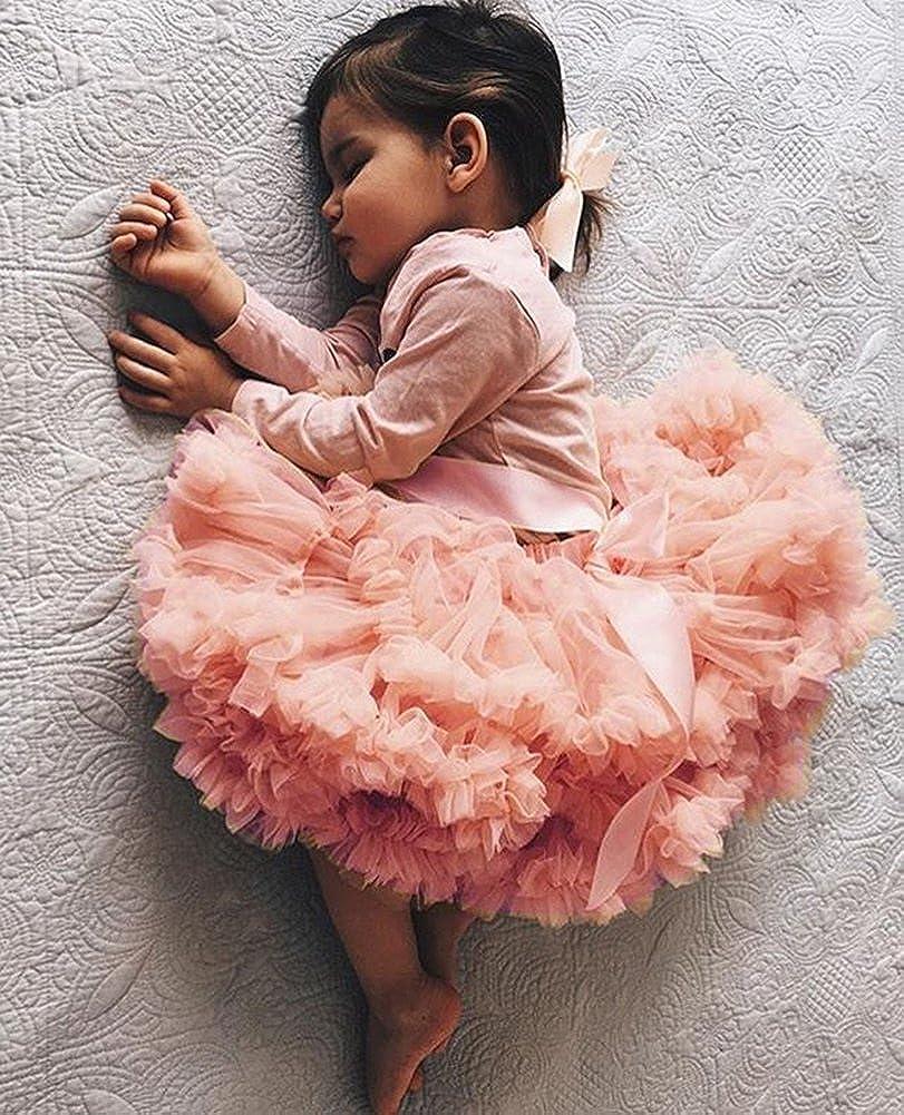 Pink yannzi Newborn Baby Girls Princess Tutu Skirt Fluffy Tulle Birthday Photography Pettiskirt 0-2T