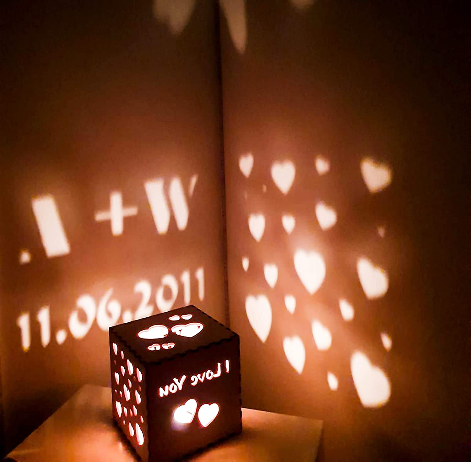 Bespoke Gift for Engagement Personalised Wooden Lantern Projector Engagement Gift