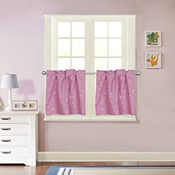 FlamingoP 2 Piece Kitchen/Baby Room Curtain Set : 2 Tiers, 29-inch by 24-inch , Rod Pocket , Pink Star