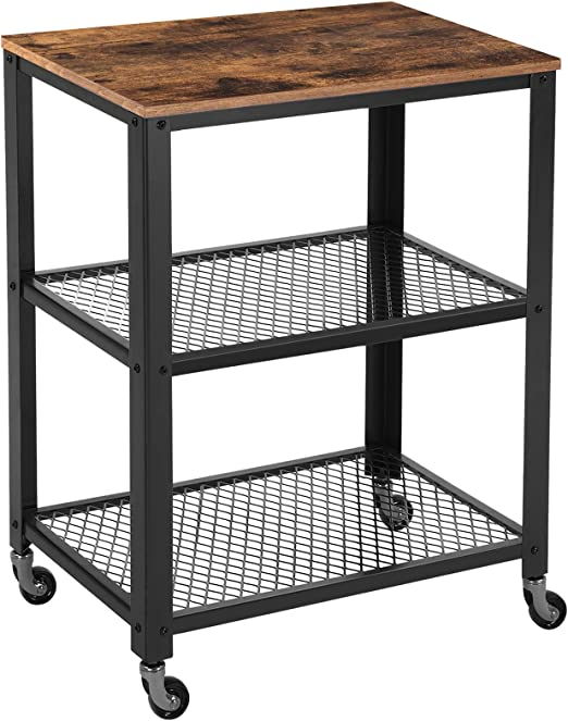 VASAGLE Industrial Serving Cart, 3-Tier Kitchen Utility Cart on Wheels with  Storage for Living Room, Wood Look Accent Furniture with Metal Frame ...