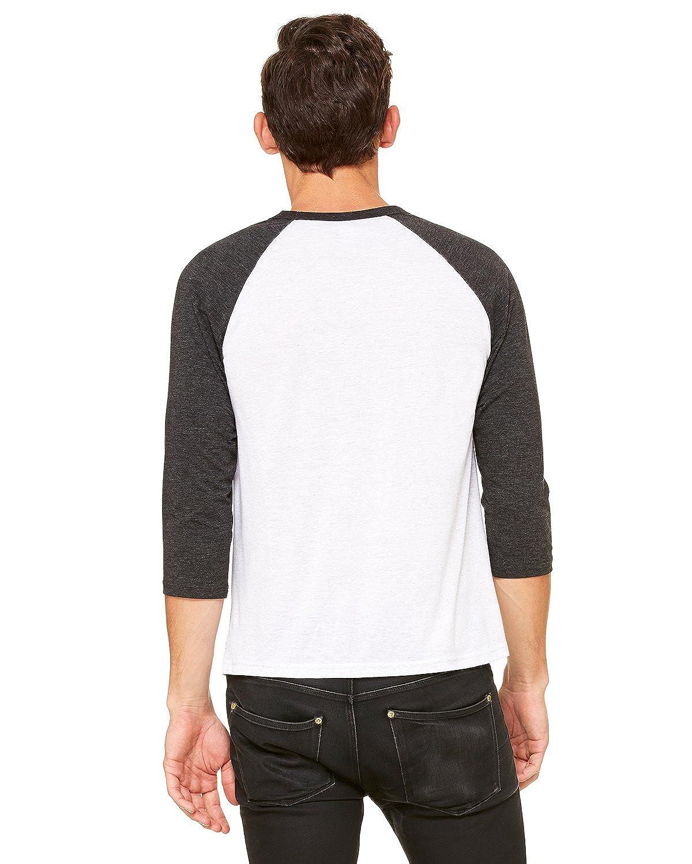 WHT FLCK//CHAR TRIBLND 3200 Canvas Unisex 3//4-Sleeve Baseball T-Shirt Bella
