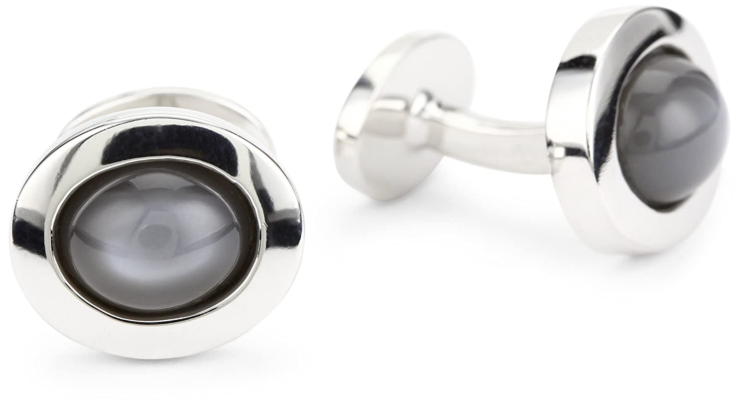 ROTENIER Classic Sterling Silver Grey Moonstone Cufflinks CL397-GMO