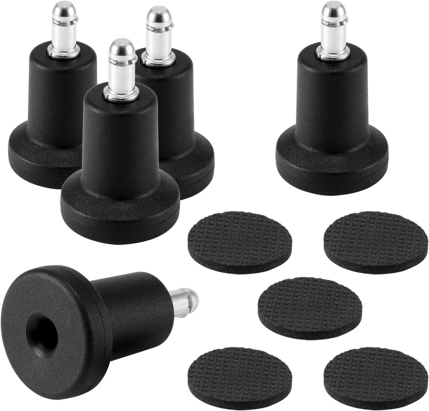 Houkiper - 5 deslizadores de sustitución para ruedas de sillas de oficina, de alto perfil, en forma de campana, con almohadillas de esponja separadas