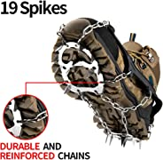 Upgraded Traction Cleats Ice Snow Grips with 19 Spikes Crampons - True Stainless Steel and Durable Silicone, Boots for Walking, Jogging, Climbing, Hiking On Ice & Snow Ground, Mountain